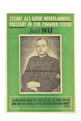 """Raam affiche """"Steunt , als goede Nederlanders Mussert in zijn zwaren strijd,...juist NU """"."""