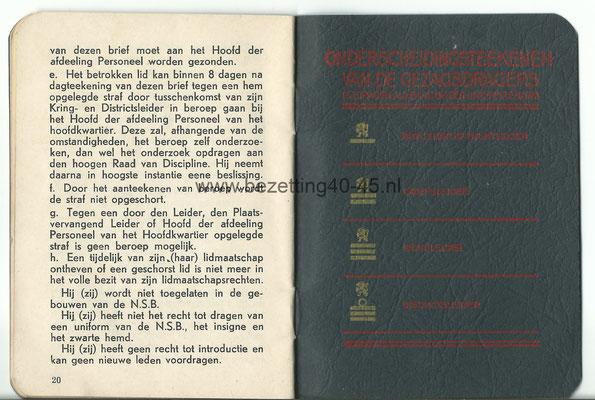 """NSB Lidmaatschap zakboekje, """"Van het Lidmaatschap der Nationaal-Socialistische Beweging in Nederland""""."""