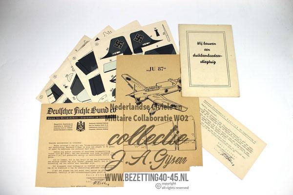 ORIGINAL WW2 Dutch NSB - German Luftwaffe Paper Airplane Model Kit - JU87 STUKA