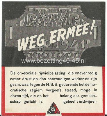 "NSB  Propaganda sticker 1941, Rijwiel belasting "" WEG ERMEE! """