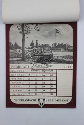 Nederlandse Arbeidsdienst NAD Kalender 1943, Februari.