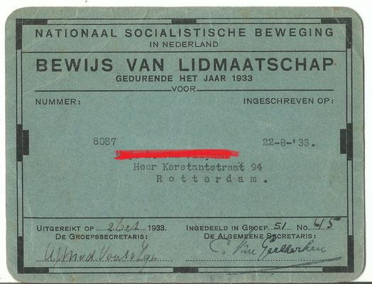 NSB lidmaatschapskaart 1933 stamboek nummer 8087 .
