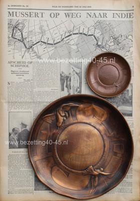 Ter illustratie, NSB Herinnering schotel bord 1935 reis Mussert Indië.