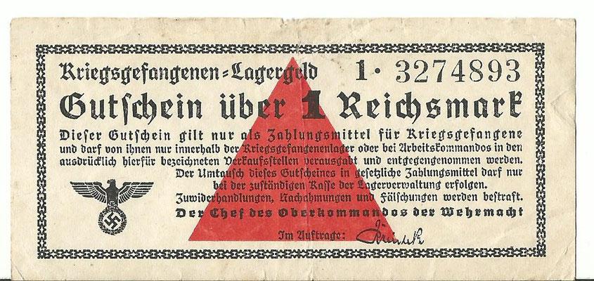 kriegsgefangenenlagergeld 1 Reichsmark.
