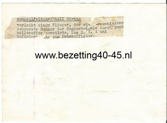 Originele-WWII-Foto – Bunker-Maginot-Line-Göring-luftwaffe-EK1-1940 – Frankrijk-België.
