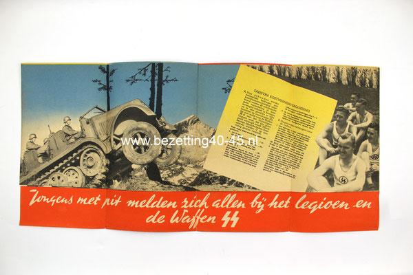 """Nederlandse Waffen SS werving Brochure / Flyer / Poster. """"Jongens met pit melden zich allen bij het legioen en de Waffen-SS""""."""