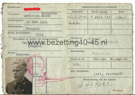 NAD Pas/bewijs van een Man uit Hengelo als Arbeidsman bij het korps 21 (Meppel) NAD Kamp 211 (Workum).