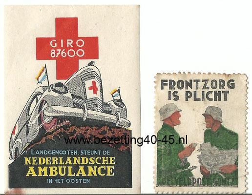NSB propaganda sluit zegel frontzorg Nederlandse vrijwilligers / original-WWII-dutch-waffen-ss-freiwillige-legion-niederlande-ambulance-stamp.
