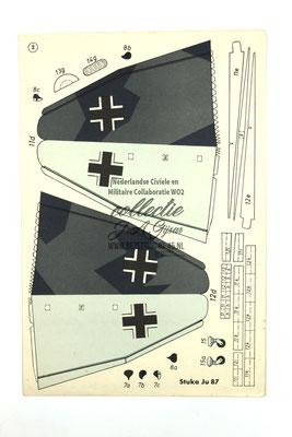 NSB WA LUWA Wij bouwen een Duikbombardeervliegtuig  JU 87 STUKA - ORIGINAL WW2 German Luftwaffe Paper Airplane Model Kit!