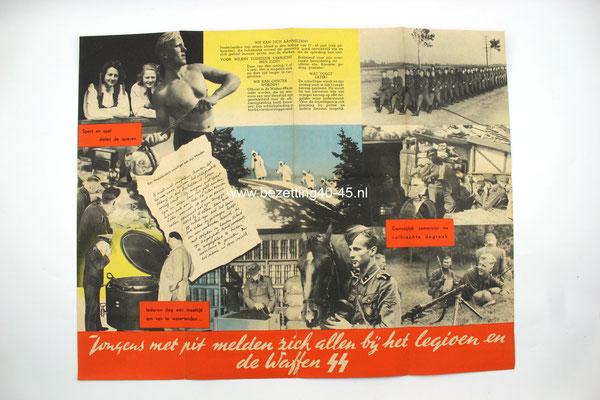 """Nederlandse Waffen SS werving Brochure / Flyer / Poster, """"Jongens met pit melden zich allen bij het legioen en de Waffen-SS"""""""