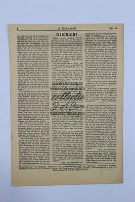 """NSB Strijd blad van de Jeugdstorm """"de Stormvlag"""" 3e jaargang, nummer 8 - 10 Maart 1944."""