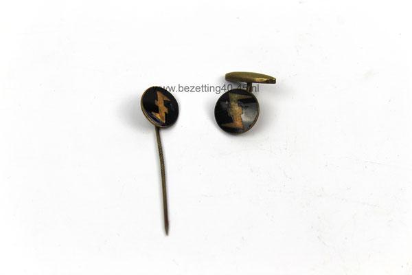 NSB - Weerafdeling (WA) manchetknoop & speld / NSB –  (WA) Cufflink and badge.