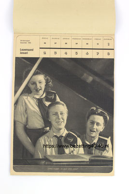 NSB Jeugdstorm Jaar (week) kalender 1944.  This is a rare Dutch NSB youth organisation calendar of the year 1944 in a great and complete condition.