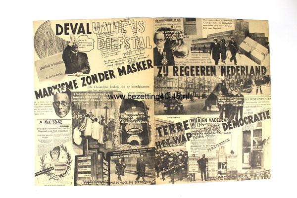 """NSB propaganda flyer van de Tweede Kamerverkiezingen 26 mei 1937.  """"WIST U DIT ??"""" -  Stem Mussert lijst 15."""