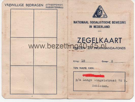 """NSB Zegelkaart """"Huizen en Propaganda fonds""""."""