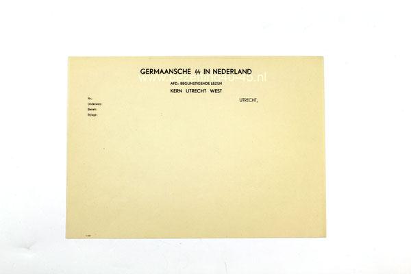 Briefpapier Germaansche SS in Nederland,  Afdeling Begunstigende leden (SS-BL),  Kern Utrecht West.