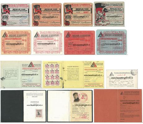NSB lidmaatschapskaarten , 1935 t/m 1944 & NSB 5 jaar boekje