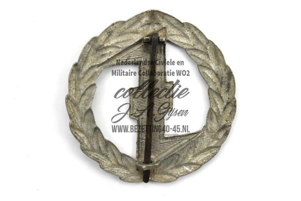 Ruil NSB WA Sport Insinge zilver, achterkant. DUTCH SS FOREIGN LEGION VOLUNTEER.   ( NSB Badge Pin )