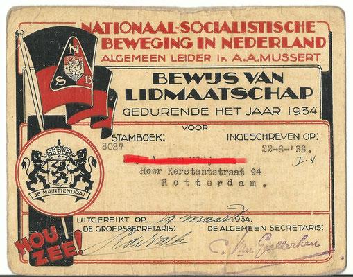 NSB lidmaatschapskaart 1934 stamboek nummer 8087 .