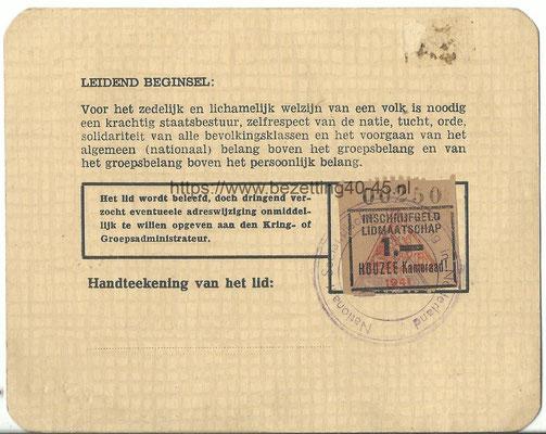 NSB lidmaatschapskaart 1941, Voorschoten.