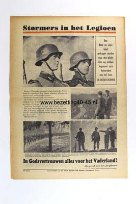 """De Stormvlag, Strijdblad van den Nationale Jeugdstorm  """"TROUW OM TROUW!"""" Stormers in het Legioen."""