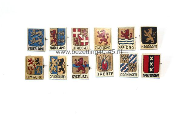 Winterhulp Nederland WHN collecte speldjes complete serie, provinciewapen 17 en 18 oktober 1941.