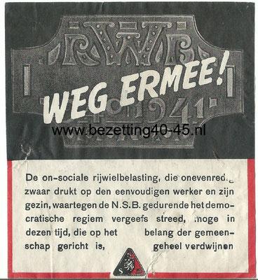 NSB propaganda - Flyer - zegel - plakker, Rijwielbelasting