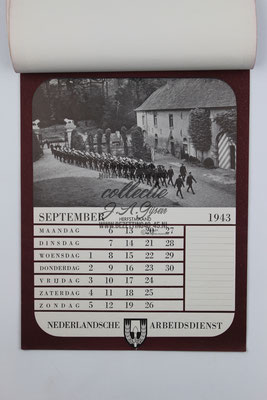 Nederlandse Arbeidsdienst NAD Kalender 1943, September.
