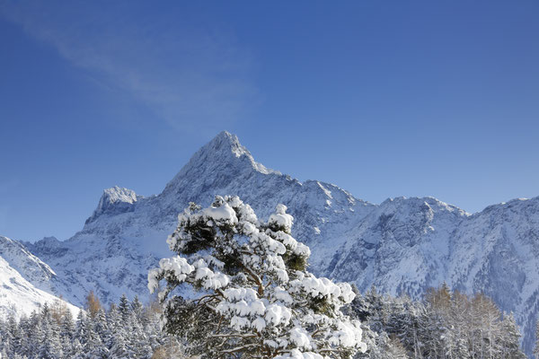 © Ötztal Tourismus Photograf Anton Klocker Bildbeschreibung Acherkogl, Berg, Oetz, blauer Himmel, Schnee, Bäume, Winter,