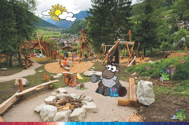 © Ötztal Tourismus Photograf Rudi Wyhlidal Bildbeschreibung Ötztal, Region Oetz, WIDI, Maskottchen, KIDS PARK, Spielplatz, Familie, Kinder, Bäume, Wald, Steine, Ortsaufnahme, Sommer