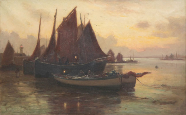 John Noble Barlow  'The return of the fleet - Early Morning - St Ives'  (RA 1902)