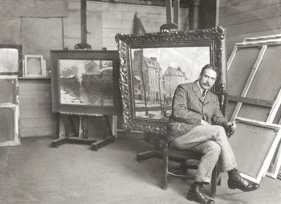 Elmer Schofield in his Piazza Studio, St Ives