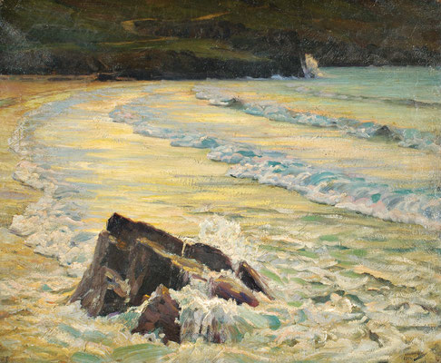 Frederick Waugh  'Sunset, Porthmeor Beach'  (Ulrich Collection)