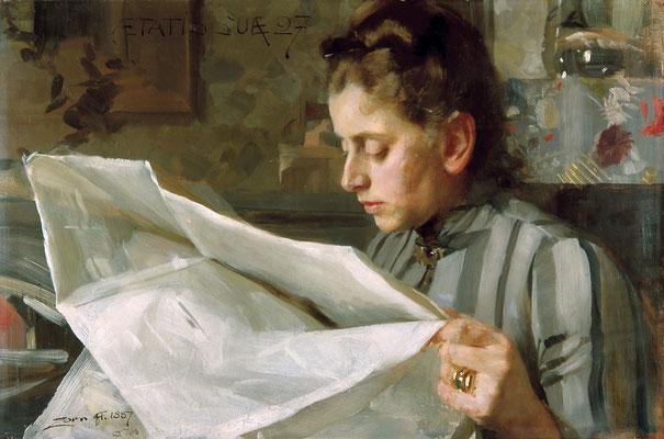 Anders Zorn  'Emma Zorn reading' (Zorn Museum, Mora)
