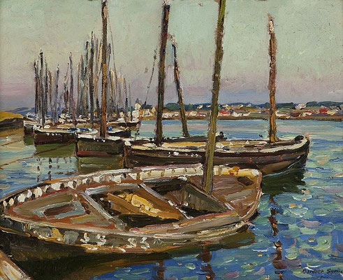 George Gardner Symons  'Mackerel Boats drawn up out of season on the Hayle Estuary'