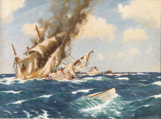 George Bradshaw  'U-boat sinking barque by gunfire' (R.N.Submarine Museum)