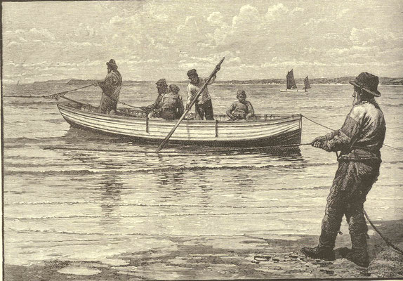 William Bartlett  'Hauling Launces, Porthminster Beach, St Ives # 1' (1884)