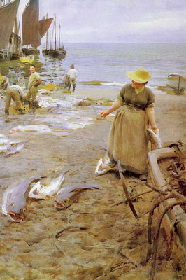 Anders Zorn  'Fish Market, St Ives'  (1888)  (Issue 16)