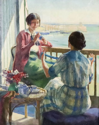 Arthur Kemp Tebby  'On the Balcony, St Ives'