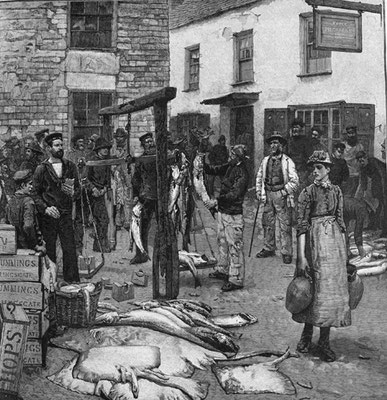 Mouat Loudan  Engraving of Fish Sale, Polperro, which appeared in the Illustrated London News in 1888