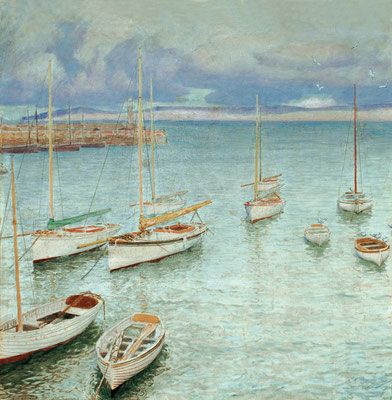 Frederick Waugh  'Boats in St Ives Harbor'  (Ulrich Collection)