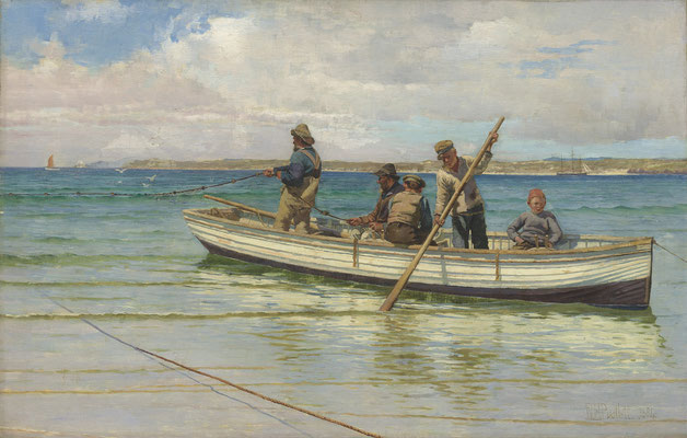William Bartlett  'Hauling Launces, Porthminster Beach, St Ives # 2' (1884)
