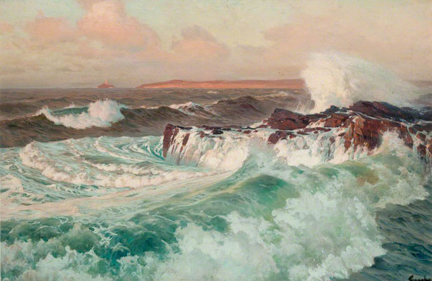 Frederick Judd Waugh  'St Ives Bay'  (McLean Museum, Greenock - Art UK)  Waugh became America's leading marine painter