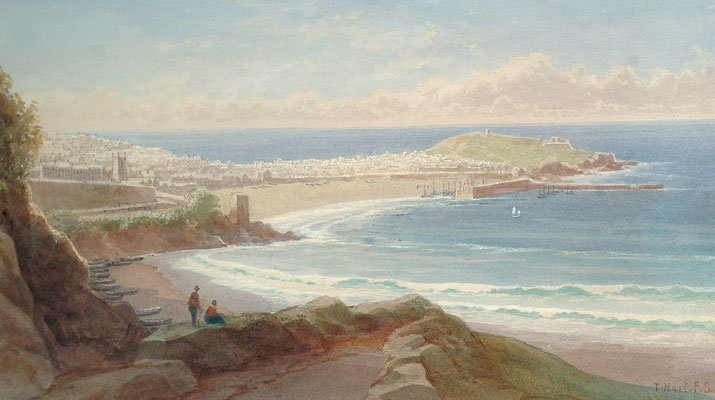 Thomas Hart  'St Ives from Porthminster Point'  N.B. the wooden pier