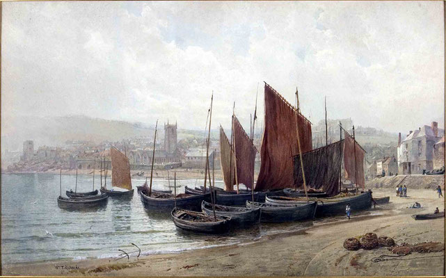 William Trost Richards  'Fishing Boats, St Ives'  (c.1880)