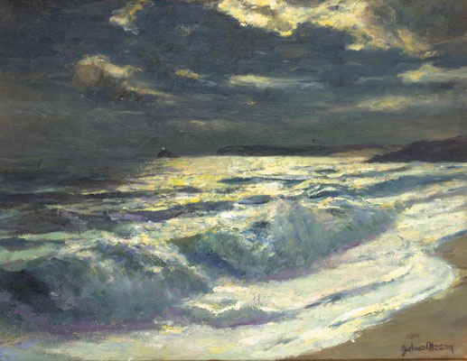 Julius Olsson  'Moonlight, St Ives Bay'  Olsson was the most important art teacher in St Ives
