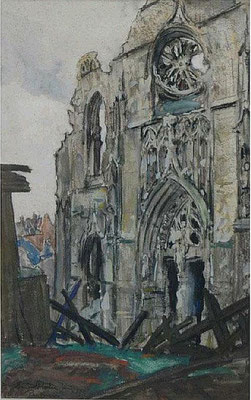 Peronne - The bomb damaged West Front of a Church (1919)
