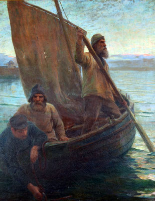 Dorothy Webb Robinson 'The Three Fishers - Away to the west as the sun goes down' (Penlee House Gallery, Penzance)