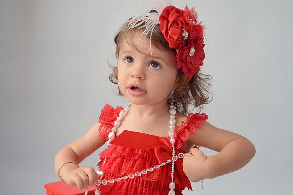 barboteuse dentelle rouge headband bébé
