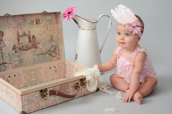 barboteuse dentelle rose headband bébé